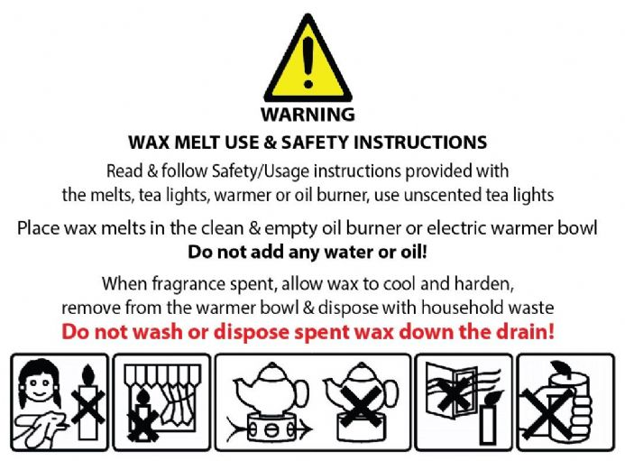 Wax Melt Safety Warning Labels